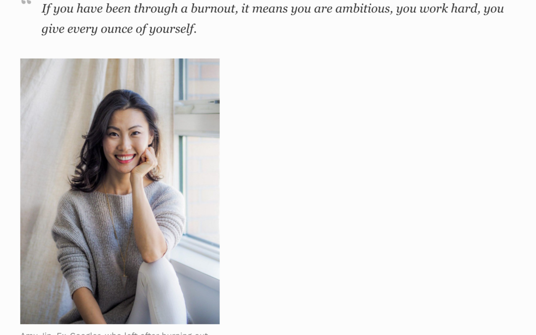 SOSA graduate Amy Jin is interviewed in Forbes magazine on how to deal with burnout.